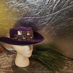 Ladies Large Rhinestone wool hat